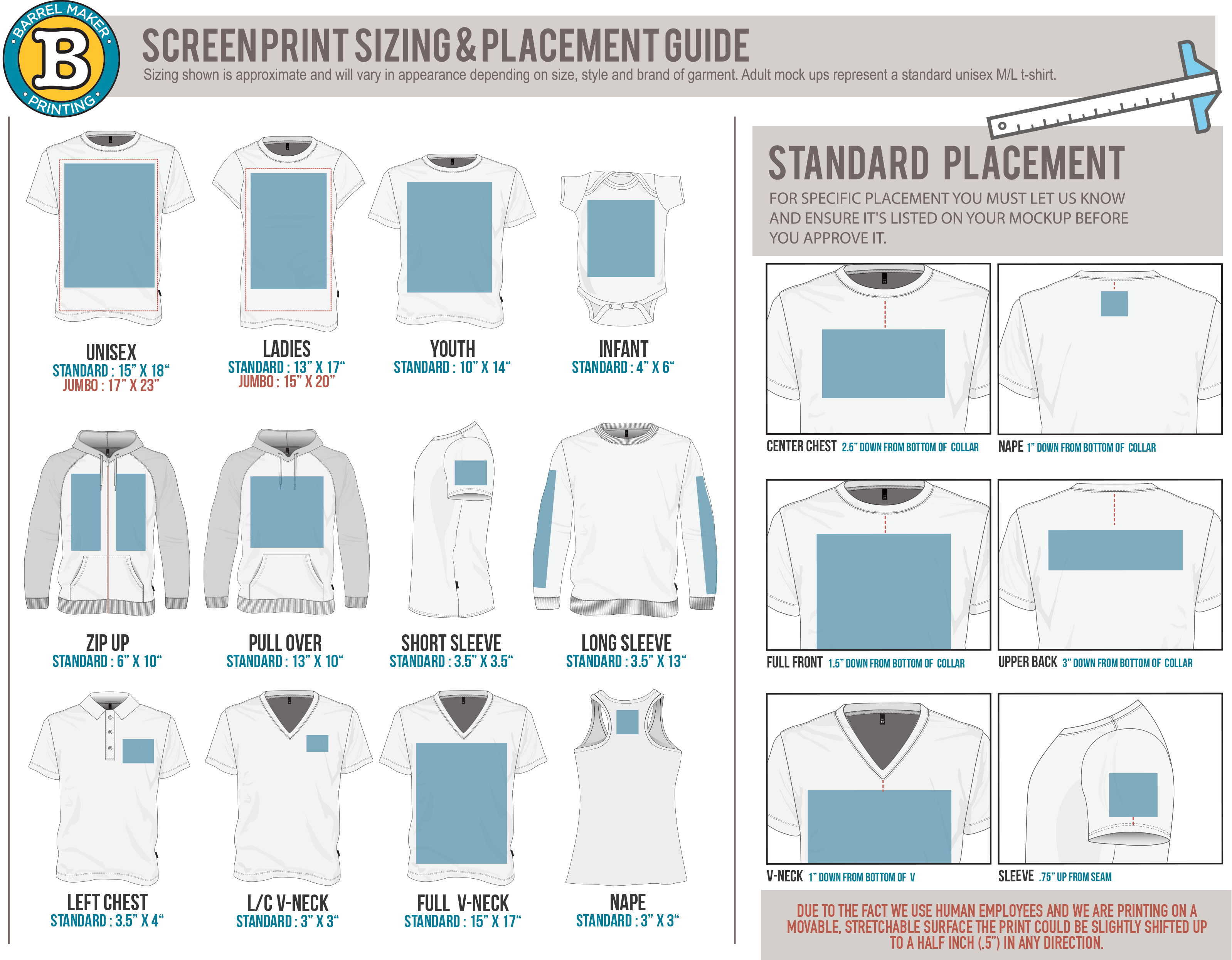 This is a graphic of Juicy Printable Embroidery Placement Guide